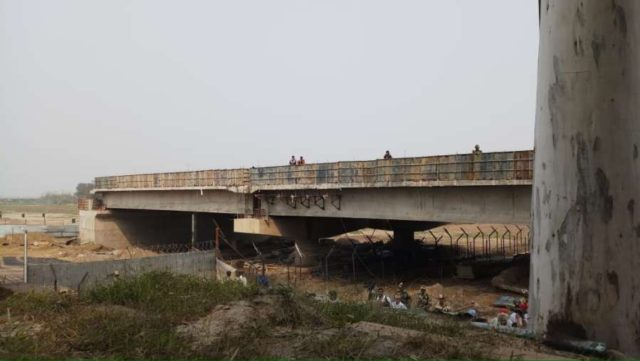 Dera Baba Nanak: The underconstruction bridge - a part of Kartarpur Sahib corridor that would link Dera Baba Nanak in Punjab's Gurdaspur and Kartarpur Sahib in Narowal in Pakistan; at Dera Baba Nanak on Oct 17, 2019. (Photo: IANS) by .