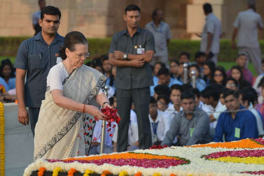 New Delhi: Congress president Sonia Gandhi paying tribute to Mahatma Gandhi on 150th birth Anniversary at Rajghat in New Delhi on Oct. 2, 2019. (Photo: IANS) by .