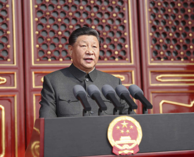 BEIJING, Oct. 1, 2019 (Xinhua) -- Chinese President Xi Jinping, also general secretary of the Communist Party of China (CPC) Central Committee and chairman of the Central Military Commission, delivers a speech at a grand rally to celebrate the 70th anniversary of the founding of the People's Republic of China at the Tian'anmen Square in Beijing, capital of China, Oct. 1, 2019. (Xinhua/Ju Peng/IANS) by Ju Peng.