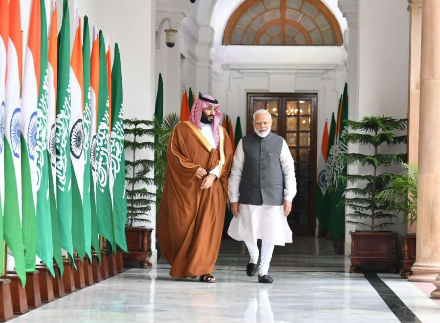 New Delhi: Prime Minister Narendra Modi and Saudi Crown Prince Mohammed bin Salman during a meeting at Hyderabad House, in New Delhi, on Feb 20, 2019. (Photo: IANS/MEA) by .