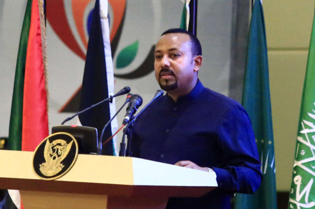 KHARTOUM, Aug. 17, 2019 (Xinhua) -- Ethiopian Prime Minister Abiy Ahmed speaks during the signing ceremony of the political and constitutional declarations in Khartoum, Sudan, on Aug. 17, 2019. Sudan's Transitional Military Council (TMC) and the opposition Freedom and Change Alliance on Saturday officially signed the political and constitutional declarations to mark beginning of the transitional rule in Sudan. (Xinhua/Mohamed Khidir/IANS) by Mohamed Khidir.