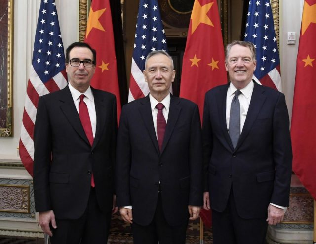 WASHINGTON, Feb. 21, 2019 (Xinhua) -- Chinese Vice Premier Liu He (C), who also comes as the special envoy of Chinese President Xi Jinping, U.S. Trade Representative Robert Lighthizer (R) and Treasury Secretary Steven Mnuchin co-chair the formal opening of a fresh round of high-level economic and trade talks at the Eisenhower Executive Office Building of the White House in Washington D.C., the United States, on Feb. 21, 2019. China and the United States on Thursday morning kicked off here a fresh round of high-level economic and trade talks. (Xinhua/Liu Jie/IANS) by .