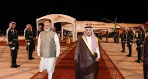 Prime Minister Narendra Modi being received by Governor of Riyadh HRH Prince Faisal bin Bandar Al Saud on his arrival at King Khalid International Airport in Riyadh, Saudi Arabia on Oct 29, 2019. (Photo: IANS/PIB) by .