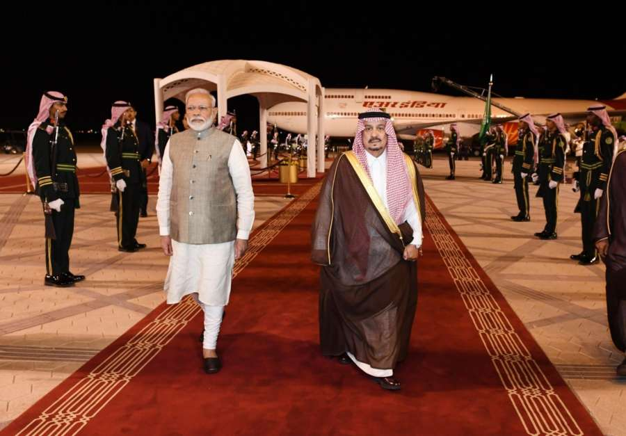 Prime Minister Narendra Modi being received by Governor of Riyadh HRH Prince Faisal bin Bandar Al Saud on his arrival at King Khalid International Airport in Riyadh, Saudi Arabia on Oct 29, 2019. (Photo: IANS/PIB) by .