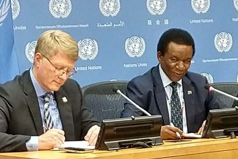 South Africa's Permanent Representative Jerry Matthews Matjila, right, who took over on Tuesday, October 1, 2019, as the Security Council president for October, speaks to reporters. With him is the political coordinator Marthinus van Schalkwyk. (Photo: Arul Louis/IANS) by .