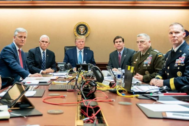 President Donald Trump is joined by Vice President Mike Pence, National Security Advisor Robert O'Brien, left; Secretary of Defense Mark Esper and Chairman of the Joint Chiefs of Staff U.S. Army General Mark A. Milley, and Brig. Gen. Marcus Evans, Deputy Director for Special Operations on the Joint Staff, at right, Saturday, Oct. 26, 2019, in the Situation Room of the White House monitoring developments as U.S. Special Operations forces close in on notorious ISIS leader Abu Bakr al-Baghdadi's compound in Syria with a mission to kill or capture the terrorist. (Photo: White House/IANS) by .