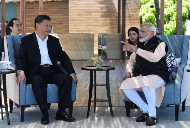 Mahabalipuram: Prime Minister Narendra Modi and Chinese President Xi Jinping continue their discussions on the 2nd day of Informal Summit, in Tamil Nadu's Mahabalipuram on Oct 12, 2019. (Photo: IANS/MEA) by .