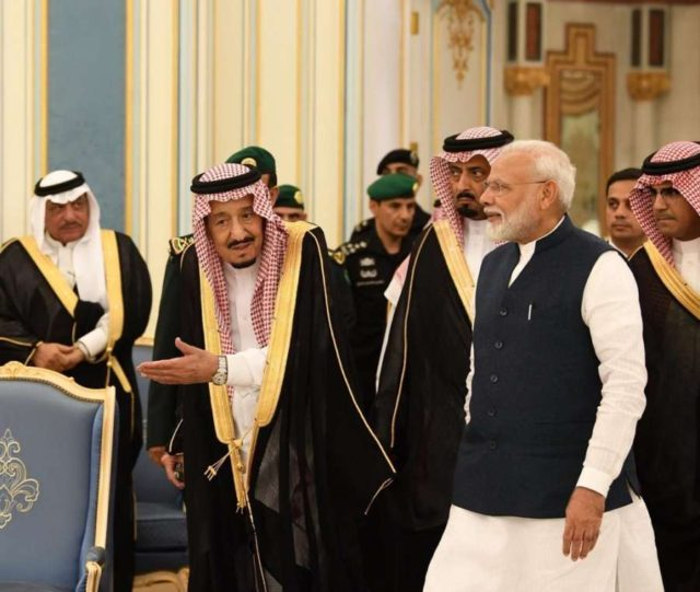 Riyadh: Prime Minister Narendra Modi meets Saudi King Salman bin Abdulaziz Al Saud in Riyadh, on Oct 29, 2019. (Photo: IANS/MEA) by .
