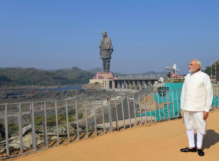Kevadiya: Prime Minister Narendra Modi at the inauguration of 'Statue of Unity' on Rashtriya Ekta Diwas - birth anniversary of the country's first Home Minister Sardar Vallabhbhai Patel at Kevadiya in Narmada District of Gujarat on Oct 31, 2018. (Photo: IANS/PIB) by .