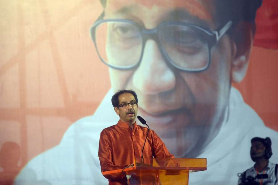 Mumbai: Shiv Sena chief Uddhav Thackeray addresses a party rally in Mumbai on Oct 8, 2019. (Photo: IANS) by .