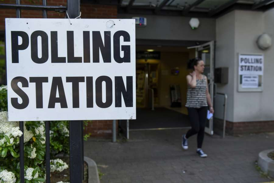 LONDON, May 23, 2019 (Xinhua) -- A woman leaves a polling station in South Ruislip, Britain, on May 23, 2019. Voters across Britain cast their ballots on Thursday for the European Parliament elections as it is widely forecast that Brexit Party will take a lead. (Xinhua/Stephen Chung/IANS) by .