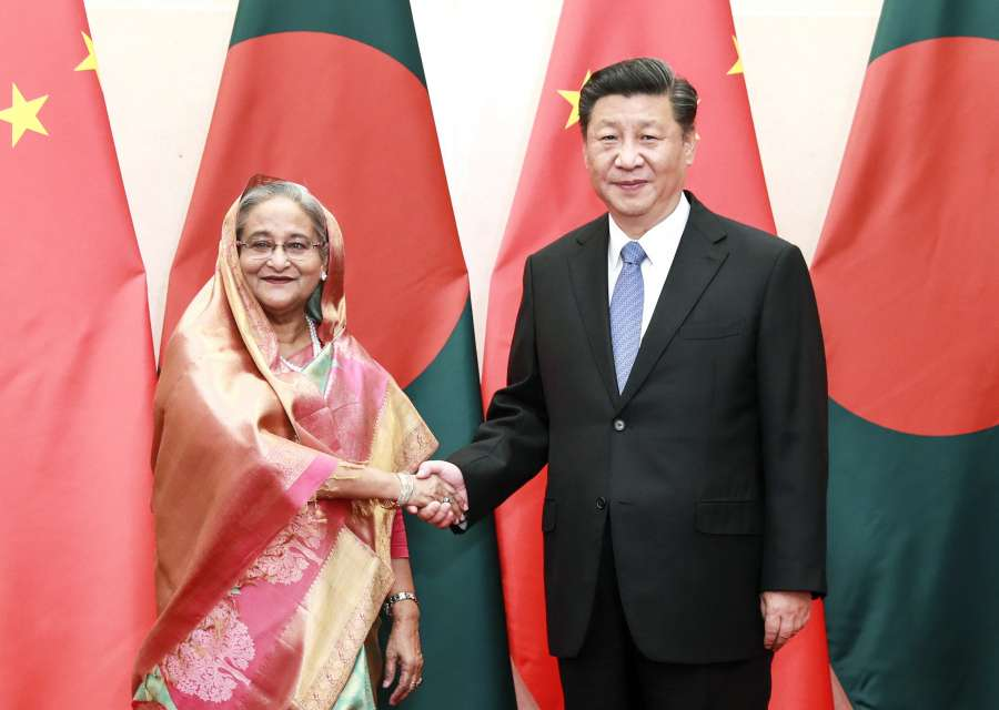 BEIJING, July 5, 2019 (Xinhua) -- Chinese President Xi Jinping (R) meets with Bangladeshi Prime Minister Sheikh Hasina at the Diaoyutai State Guesthouse in Beijing, capital of China, July 5, 2019. (Xinhua/Pang Xinglei/IANS) by .
