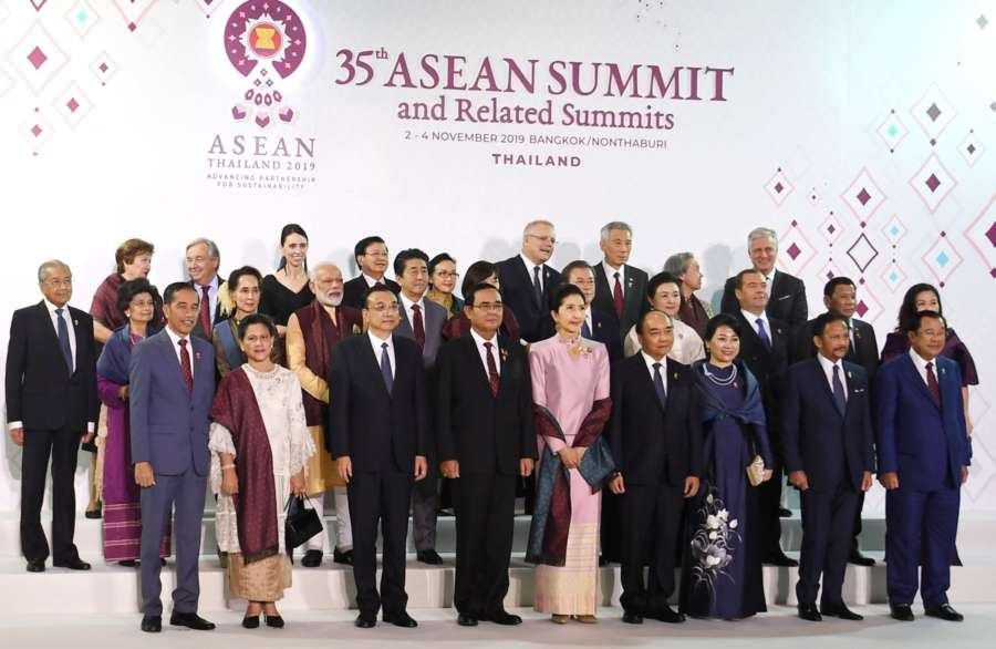 Bangkok: Prime Minister Narendra Modi in a group photograph with the other leaders, during the ASEAN Gala Dinner in Bangkok, Thailand on Nov 3, 2019. (Photo: IANS/PIB) by .