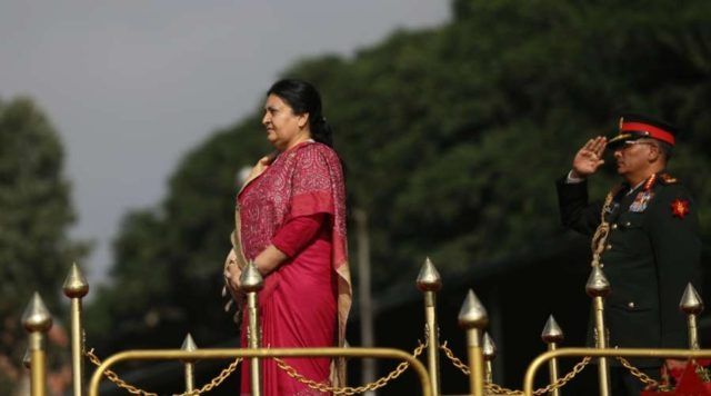 KATHMANDU, Sept. 19, 2018 (Xinhua) -- Nepalese President Bidhya Devi Bhandari takes part in a special function celebrating the Constitution Day at Nepal Army Pavilion in Kathmandu, Nepal, Sept. 19, 2018. Nepal, on Wednesday, observed the third Constitution Day also known as the National Day, marking the anniversary of the promulgation of the landmark constitution. (Xinhua/Sunil Sharma/IANS) by .