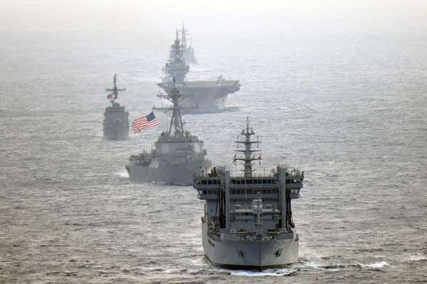 Indian Navy destroyer INS Kolkata and tanker INS Shakti, transits the international waters in the South China Sea along with along with United States Navy guided-missile destroyer USS William P. Lawrence, Japan Maritime Self-Defense Force helicopter-carrier JS Izumo DDH 183 and destroyer JS Murasame, and Philippine Navy patrol ship BRP Andres Bonifacio on May 7, 2019. (Photo: JMSDF/IANS) by .
