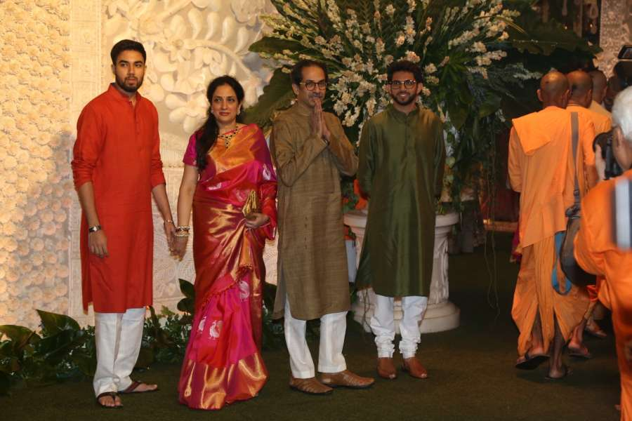Mumbai: Shiv Sena chief Uddhav Thackeray with his wife Rashmi Thackeray and sons Aditya Thackeray and Tejas Thackeray at Reliance Industries Ltd. Chairman Mukesh Ambani's residence in Mumbai on Sep 2, 2019. (Photo: IANS) by .