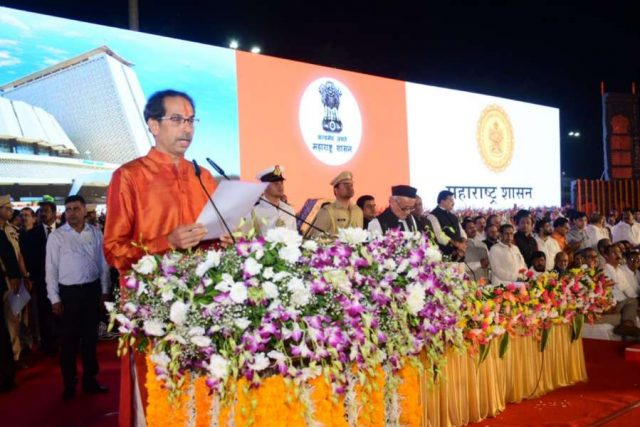 Mumbai: Uddhav Thackeray takes oath as the 17th Chief Minister of Maharashtra during his swearing-in ceremony in Mumbai on Nov 28, 2019. (Photo: IANS) by .