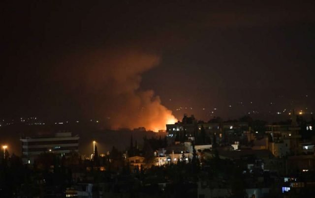 DAMASCUS, Sept. 2, 2018 (Xinhua) -- Photo taken on Sept. 2, 2018 shows the fire and smoke rising from the Mazzeh airbase in the Damascus' western Mazzeh neighborhood, Syria, on Sept. 2, 2018. The Syrian army denied reports that an Israeli missile attack targeted a Syrian airbase west of Damascus early Sunday, saying a short circuit caused an explosion in an arms depot near the airbase, according to the state TV. (Xinhua/Ammar Safarjalani/IANS) by .
