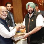 Jalandhar: Punjab Chief Minister Captain Amarinder Singh welcomes Member Parliament from UK Lord Diljit Rana who came for the 550th birth anniversary celebrations of first Sikh master Guru Nanak Dev in Jalandhar on Nov 12, 2019. The CM has assured the Punjabi diaspora settled abroad that he would take up with the Chief Justice of the High Court and the Central government, the issue of setting up special courts to expeditiously settle cases of those who had been declared proclaimed offenders after fleeing Punjab during terrorism. (Photo: IANS) by .