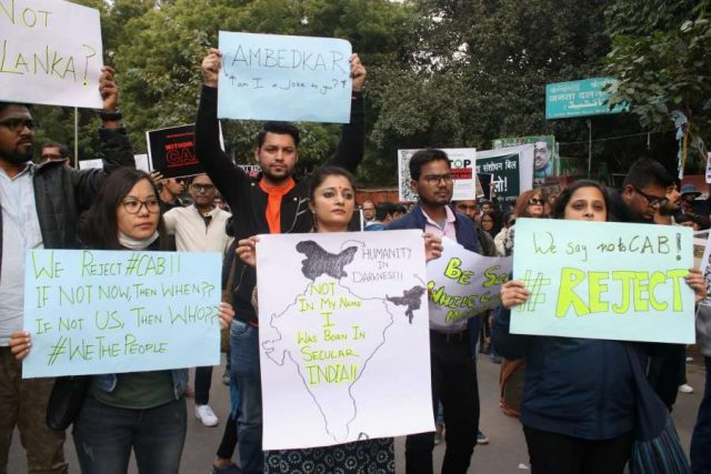 New Delhi: Social activists stage a demonstration against the Citizenship Amendment Act (CAA) 2019 during