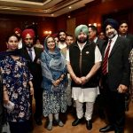 Jalandhar: Punjab Chief Minister Captain Amarinder Singh and his wife and Member Parliament from Patiala Preneet Kaur during a meeting with a group of NRIs that came for the 550th birth anniversary celebrations of first Sikh master Guru Nanak Dev in Jalandhar on Nov 12, 2019. The CM has assured the Punjabi diaspora settled abroad that he would take up with the Chief Justice of the High Court and the Central government, the issue of setting up special courts to expeditiously settle cases of those who had been declared proclaimed offenders after fleeing Punjab during terrorism. (Photo: IANS) by .
