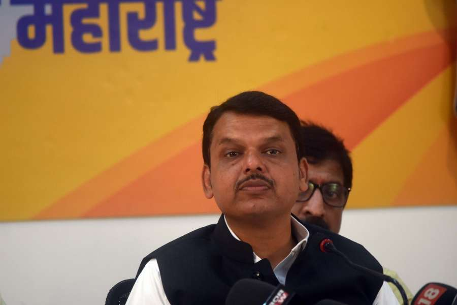 Mumbai: Maharashtra Chief Minister Devendra Fadnavis addresses a press conference at state BJP headquarters in Mumbai on Sep 23, 2019. (Photo: IANS) by .