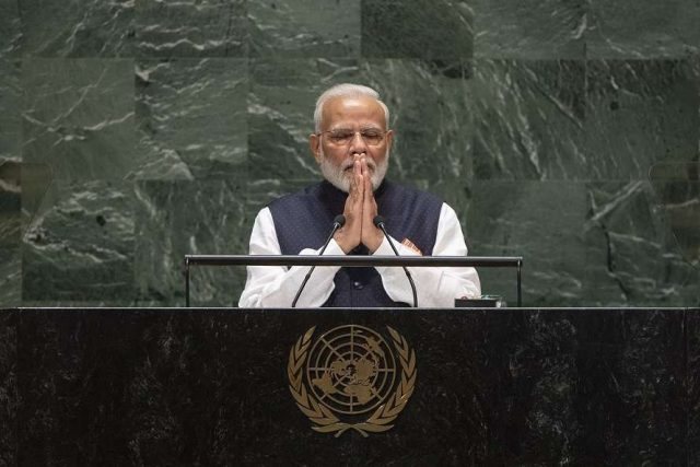 Prime Minister Narendra Modi addresses the United Nations General Assembly on September 27, 2019. (Photo: UN/IANS) by .