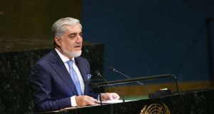 UNITED NATIONS, Sept. 26, 2018 (Xinhua) -- Chief Executive of Afghanistan Abdullah Abdullah addresses the General Debate of the 73rd session of the United Nations General Assembly at the UN headquarters in New York, on Sept. 26, 2018. (Xinhua/Qin Lang/IANS) by .