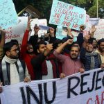 New Delhi: JNU students stage a protest against NRC and CAB in New Delhi on Dec. 7, 2019. (Photo: IANS) by .