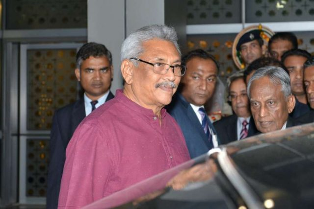 New Delhi: Newly-elected Sri Lankan President Gotabaya Rajapaksa arrives at Indira Gandhi International Airport in New Delhi on Nov 28, 2019. Also seen Union Minister General VK Singh. (Photo: IANS) by .