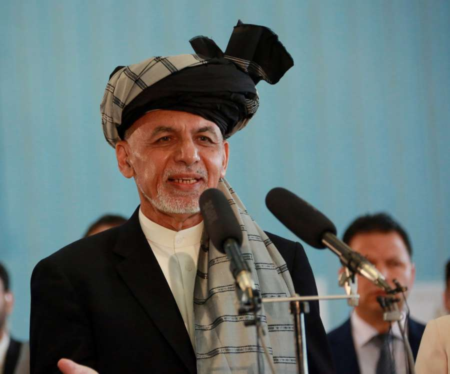 KABUL, Sept. 28, 2019 (Xinhua) -- Afghan President and presidential candidate Mohammad Ashraf Ghani speaks after casting ballot at a polling center during presidential election in Kabul, capital of Afghanistan, Sept. 28, 2019. Afghanistan held presidential election on Saturday. (Xinhua/Rahmatullah Alizadah/IANS) by .