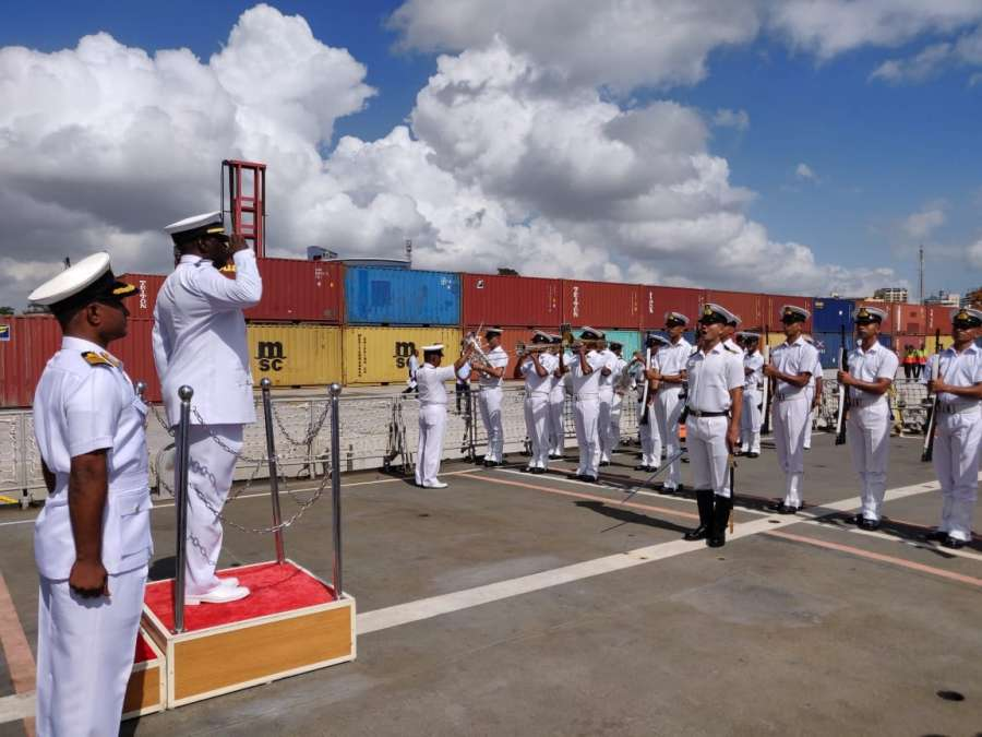 "Dar-es-Salaam: Commander of the Tanzanian Navy Rear Admiral R.M. Makanzo receives the Guard of Honour during a four-day port of call to the African nation where he received four indigenous Indian ships, in Tanzania's Dar-es-Salaam on Oct 14, 2019. The four-day port of call to Tanzania on the eastern coast of Africa is part of Indian Navy's overseas deployment programme aimed at building ""bridges of friendship"" with friendly nations. (Photo: IANS/DPRO) by ."
