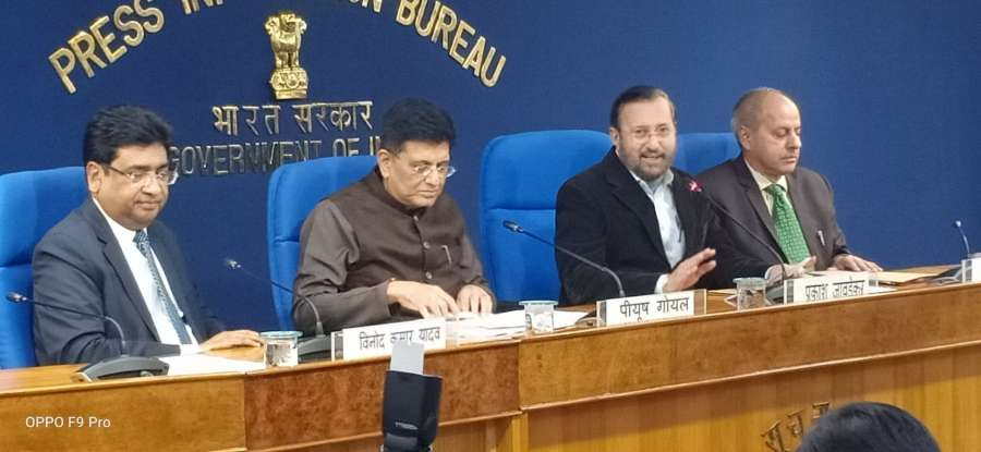 New Delhi: Union Ministers Piyush Goyal and Prakash Javadekar during media briefing on Cabinet decisions, in New Delhi on Dec 24, 2019. (Photo: IANS/PIB) by .
