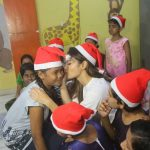 Mumbai: Actress Mouni Roy with underprivileged children during her visit to an NGO for Christmas celebrations, in Mumbai on Dec 23, 2019. (Photo: IANS) by .
