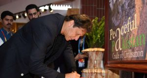 BEIJING, April 28, 2019 (Xinhua) -- Pakistani Prime Minister Imran Khan signs autograph as he visits the Pakistan Garden at the International Horticulture zone of the International Horticultural Exhibition 2019 Beijing, in Beijing, capital of China, April 28, 2019. (Xinhua/Zhang Chenlin/IANS) by .