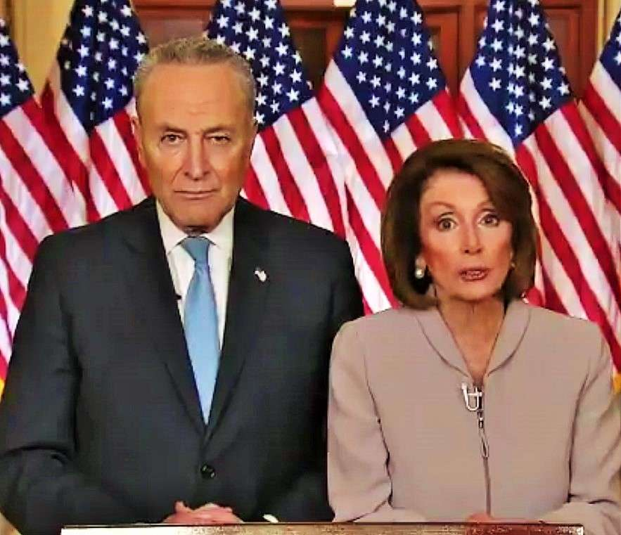United States Senate Minority Leader Chuck Schumer, left, and House Speaker Nancy Pelosi deliver their rebuttal to President Donald Trump's address to the nation on Tuesday, Jan. 8 2019. (Photo: Courtesy of Schumer) by .