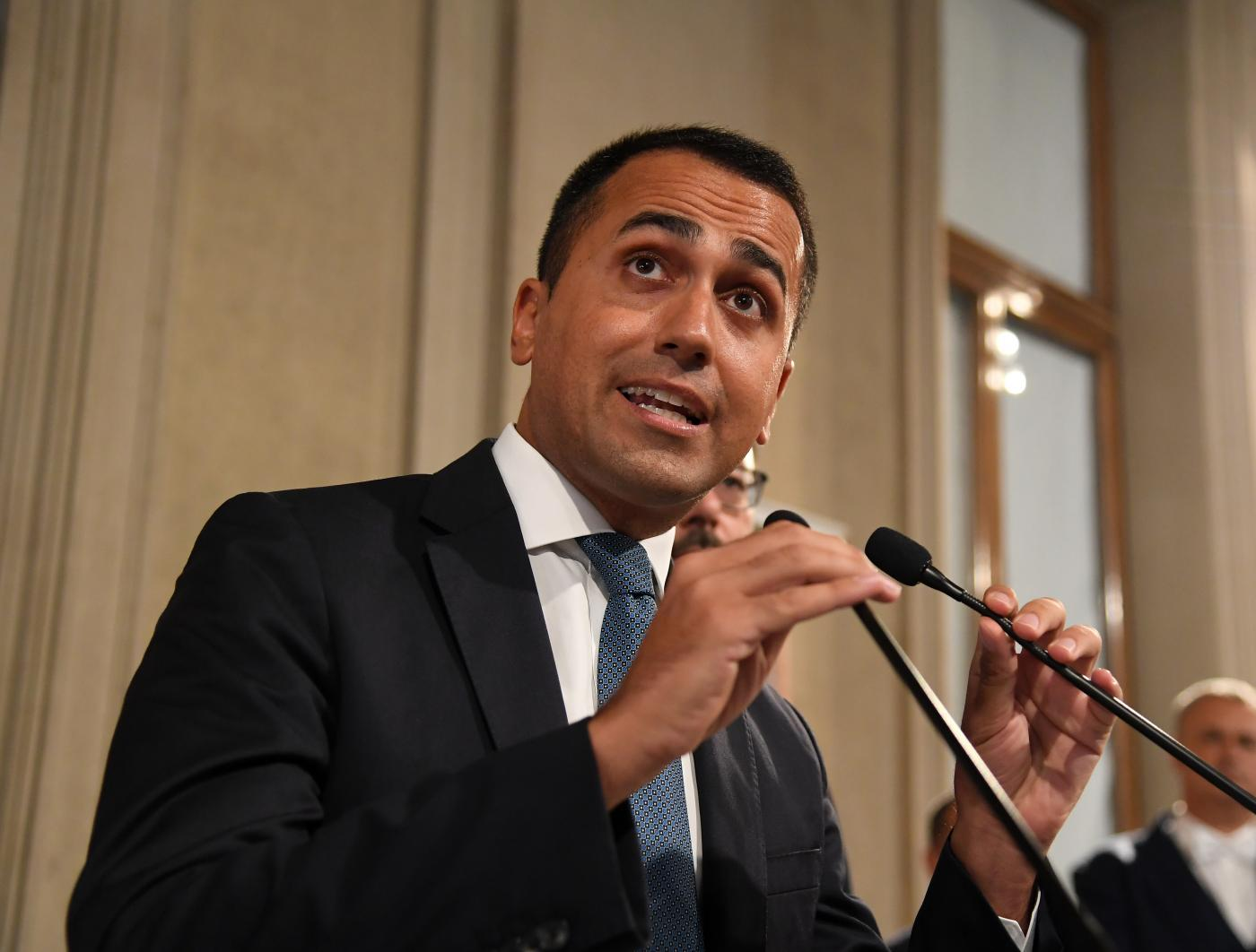 ROME, Aug. 28, 2019 (Xinhua) -- Italy's Five Star Movement leader Luigi Di Maio speaks at the Palazzo del Quirinale in Rome, Italy, on Aug. 28, 2019. Italian president Sergio Mattarella will summon outgoing Prime Minister Giuseppe Conte on Thursday in order to ask him to try to form a new coalition government. (Photo by Alberto Lingria/Xinhua/IANS) by .