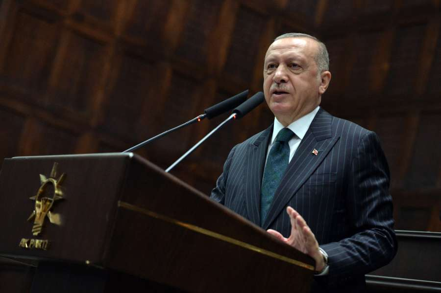 "ANKARA, June 25, 2019 (Xinhua) -- Turkish President Recep Tayyip Erdogan addresses lawmakers of the ruling Justice and Development Party (AKP) in Ankara, Turkey, on June 25, 2019. Recep Tayyip Erdogan on Tuesday vowed to learn lessons from ""the messages that given by people"" in June 23 re-elections in Istanbul at which his ruling party suffered a historic blow. (Xinhua/Mustafa Kaya/IANS) by ."