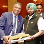 Jalandhar: Punjab Chief Minister Captain Amarinder Singh welcomes Member of Parliament from Canada Bob Saroya who came for the 550th birth anniversary celebrations of first Sikh master Guru Nanak Dev in Jalandhar on Nov 12, 2019. The CM has assured the Punjabi diaspora settled abroad that he would take up with the Chief Justice of the High Court and the Central government, the issue of setting up special courts to expeditiously settle cases of those who had been declared proclaimed offenders after fleeing Punjab during terrorism. (Photo: IANS) by .