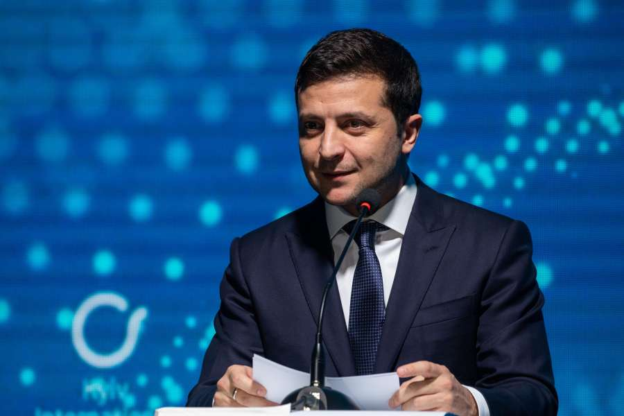 KIEV, Nov. 9, 2019 (Xinhua) -- Ukrainian President Volodymyr Zelensky speaks during the opening ceremony of the Kiev International Economic Forum (KIEF) in Kiev, Ukraine, on Nov. 8, 2019. KIEF is a discussion platform whose main objectives are to formulate a growth strategy for the Ukrainian economy, establish links among foreign investors, Ukrainian business and government officials, and to improve the country's reputation in the international arena. (Xinhua/Bai Xueqi/IANS) by .