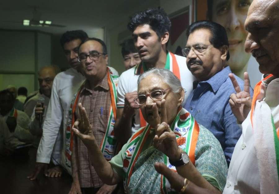 New Delhi: Congress' Lok Sabha candidates from Delhi - Sheila Dixit (North East Delhi), Ajay Maken (New Delhi), Vijender Singh (South Delhi) and Jai Parkash Aggarwal (Chandni Chowk) during a press conference, at the party's headquarter in New Delhi, on April 25, 2019. (Photo: IANS) by .