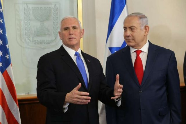 JERUSALEM, Jan. 22, 2018 (Xinhua) -- U.S. Vice President Mike Pence (L) meets with Israeli Prime Minister Benjamin Netanyahu in Jerusalem, on Jan. 22, 2018. (Xinhua/Alex Kolomoisky/POOL/JINI/IANS) by .
