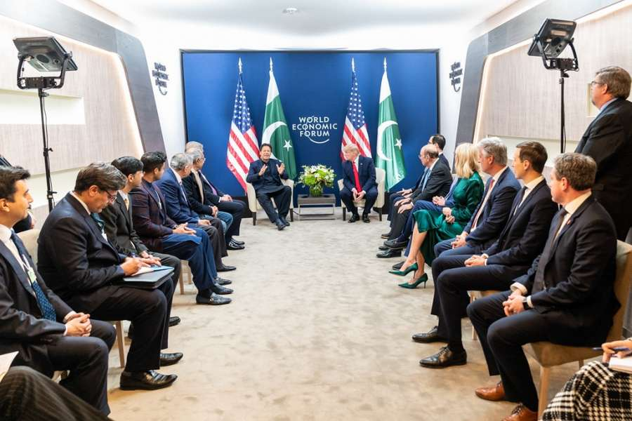 United States President Donald Trump and his officials, right, meet with Pakistan Prime Minister Imran Khan and his entourage, left, at Davos, Switzerland, on Tuesday, January 21, 2020. (Photo: White Houe/IANS) by .