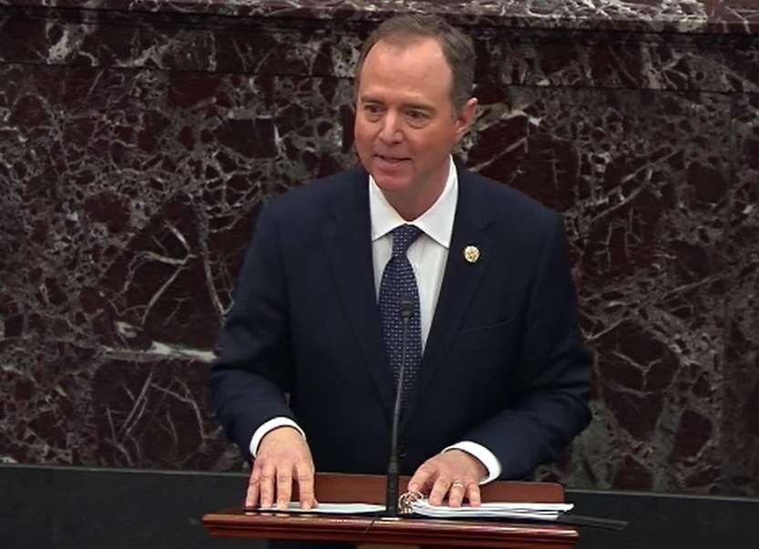 Adam Schiff, the United States House of Representatives Intelligence Committee chair, speaks at the Senate during the trial of President Donald Trump on January 22, 2020. The Democrat was the main prosecutor in the case. (Photo: Senate Video/IANS) by .
