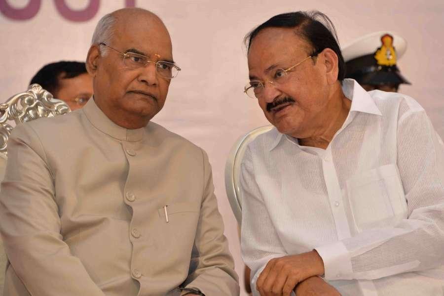 Nellore: President Ram Nath Kovind and Vice President M. Venkaiah Naidu at the 18th anniversary celebrations of Swarna Bharat Trust, in Nellore, Andhra Pradesh, on Feb 22, 2019. (Photo: IANS/PIB) by .