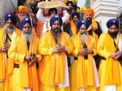 Amritsar: 'Panj Pyaras' lead a religious procession organised on the eve of the birth anniversary of the tenth Sikh Guru, Gobind Singh, in Amritsar on Jan 1, 2020. (Photo: IANS) by .