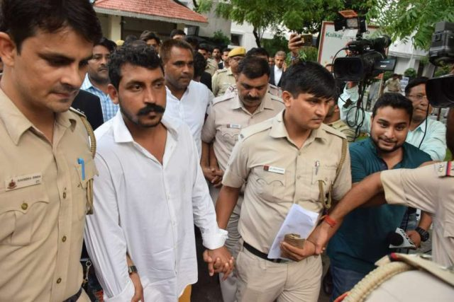 New Delhi: Bhim Army chief Chandrashekhar Azad in the custody of Delhi Police after a Dalit protest over demolition of Saint Ravidas temple turned violent in south Delhi's Tughlakabad area on Wednesday; in New Delhi on Aug 22, 2019. (Photo: IANS) by .