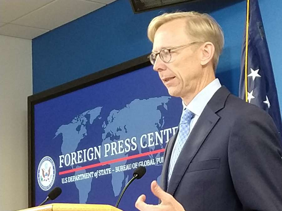 United States Special Representative for Iran, Brian Hook, briefs media in New York on Tuesday, August 20, 2019. (Photo: Arul Louis/IANS) by .