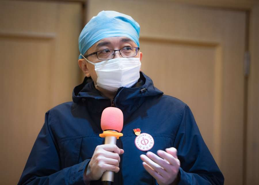 WUHAN, Jan. 25, 2020 (Xinhua) -- A medical staff member from Guangdong Province speaks during a training in Wuhan, central China's Hubei Province, Jan. 25, 2020. Medical staff members from Guangdong arrived in Wuhan, the center of the novel coronavirus (2019-nCoV) outbreak, to provide medical aid. (Xinhua/Xiao Yijiu/IANS) by .