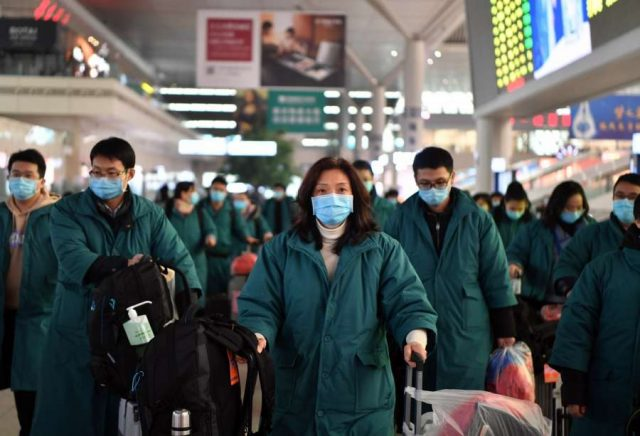 ZHENGZHOU, Jan. 26, 2020 (Xinhua) -- Members of a medical team prepare to board a train at Zhengzhou East railway station in Zhengzhou, central China's Henan Province, on Jan. 26, 2020. A team comprised of 137 members from five medical institutions in Henan left Zhengzhou for Wuhan on Sunday to aid the coronavirus control efforts there. (Xinhua/Li Jianan/IANS) by .